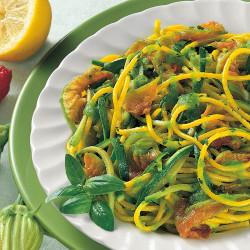 Spaghetti zucchine, avocado e Zafferano Leprotto