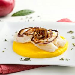 Baccalà con crema di patate allo Zafferano Leprotto