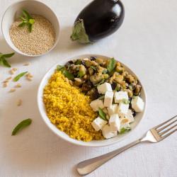 Quinoa, melanzane, feta e Zafferano Leprotto