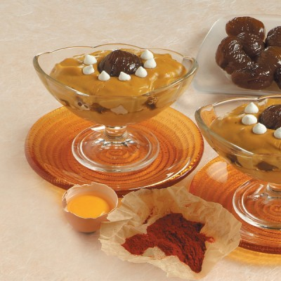 Crema allo zafferano con meringhe e marron glaces