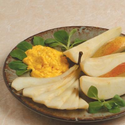 Crema di formaggio allo zafferano con pere