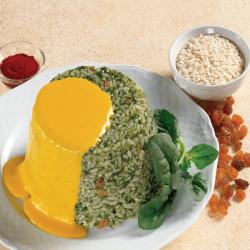 Formato di riso con spinaci e salsa allo zafferano