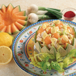 Insalata di Pollo e Melone con salsa allo Zafferano