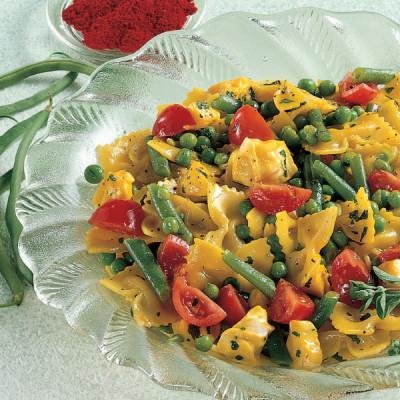 Pasta Fredda con verdure e Mozzarella allo Zafferano