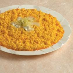 Risotto giallo al gorgonzola e porri
