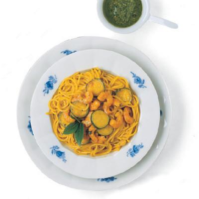 Spaghettini Zucchine, Gamberetti e Zafferano