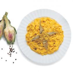 Tagliatelle con Carciofi e Crema di Ricotta allo Zafferano