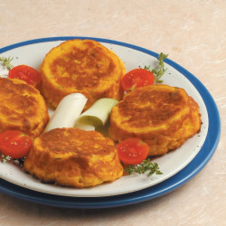 Tortini gialli di patate e porri