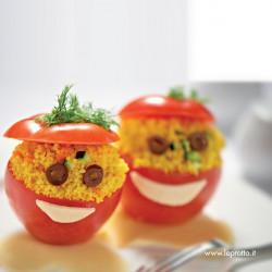 Omino di pomodoro con zafferano e cous cous alle verdure