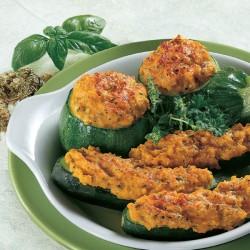 Zucchine allo zafferano con ripieno vegetariano al gratin