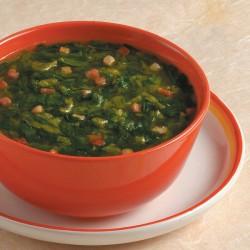 Zuppa di lattuga e pancetta allo zafferano